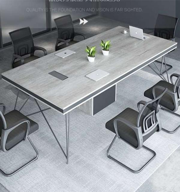 几何腿四人位工位桌